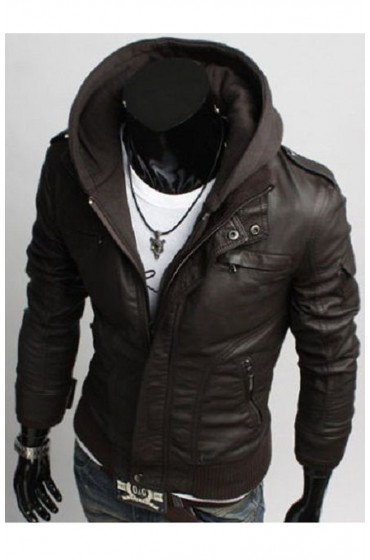Men's Slim Fit Brown Leather Jacket with Hood