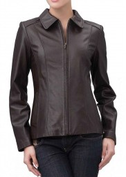 Brown Leather Zip Front Jacket For Women