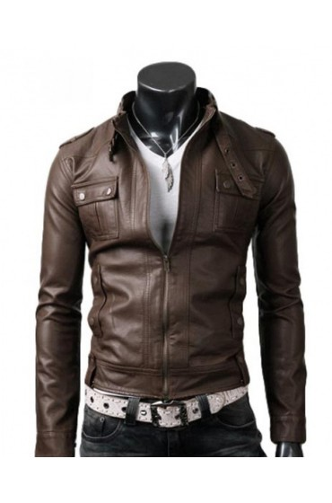 Men's Slim Fit Strap Buckle Collar Brown Leather Jacket