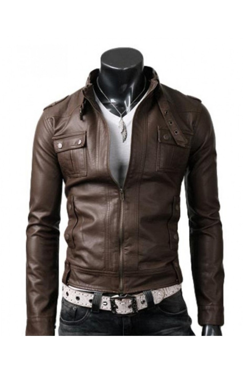 4c8bd9391a6 Men s Slim Fit Strap Buckle Collar Brown Leather Jacket