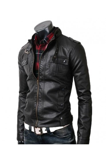 Men's Slim Fit Strap Buckle Collar Black Leather Jacket