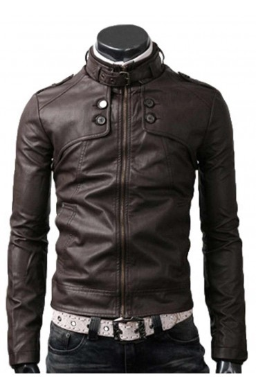 Button Pocket Mens Slim Fit Dark Brown Leather Jacket