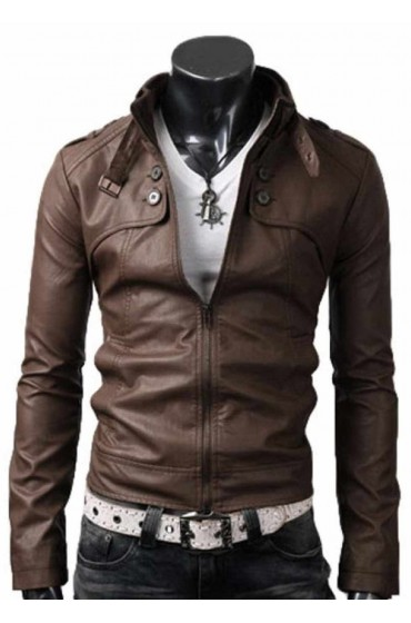 Button Pocket Slim Fit Light Brown Leather Jacket