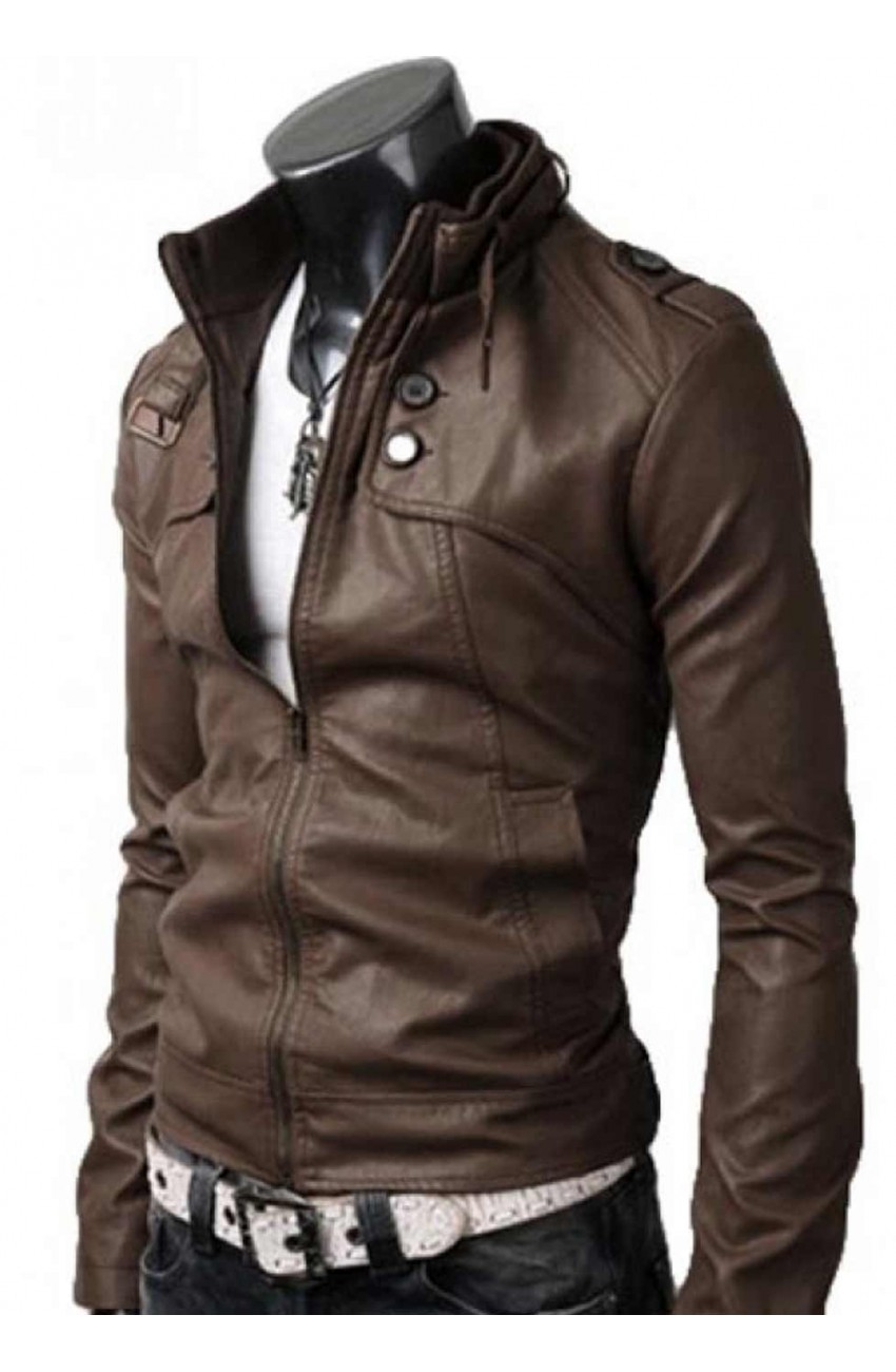 Light Brown Leather Jacket Men Button Pocket Slim Fit Jacket