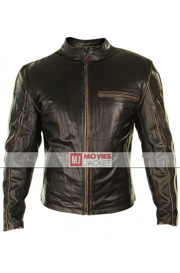 Cafe Racer Leather Motorcycle Jacket for Men
