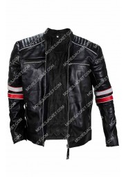 Cafe Racer Mens White And Red Stripes Jacket