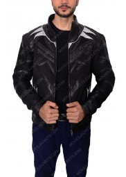 "Chadwick Boseman Black Panther Leather Jacket ""Free T-Shirt"""