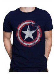 Captain America Distressed Shield Navy Shirt