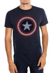 Printed Shield Logo of Captain America Blue T-Shirt