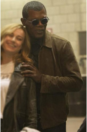 Captain Marvel Nick Fury Brown Suede Jacket