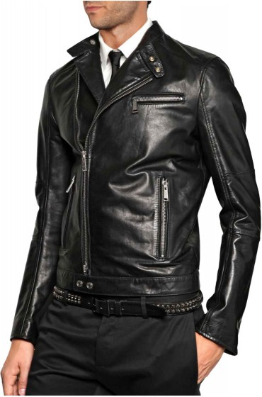 Men's Asymmetrical Zip Slim Fit Casual Black Leather Jacket
