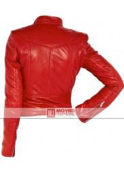 Biker Style Cheryl Cole Red Leather Jacket
