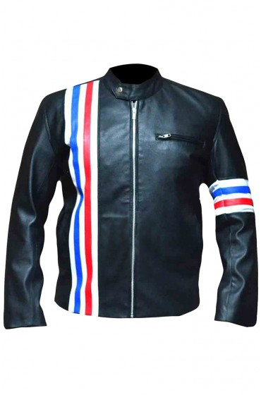 Christian Bale Black Leather Jacket for Bike Riders