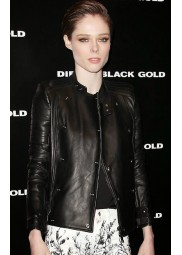 Coco Rocha Black Leather Jacket