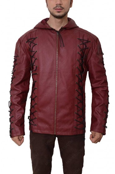 Colton Haynes Arrow TV Series Arsenal Roy Harper Leather Hoodie