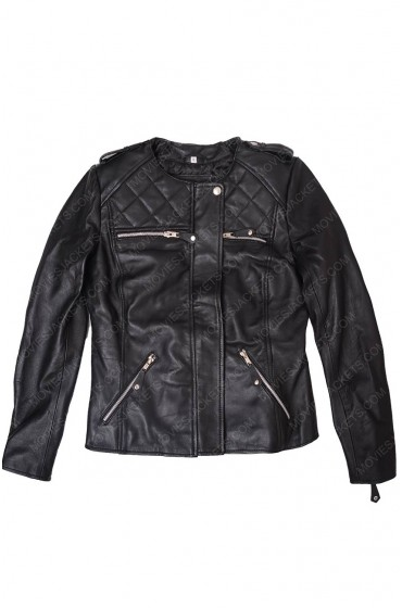 Covert Affairs Piper Perabo Black Leather Jacket