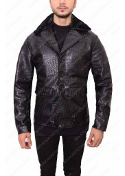 Crocodile Embossed Men Leather Jacket