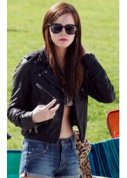 Biker Style Emma Watson Cropped Black Leather Jacket