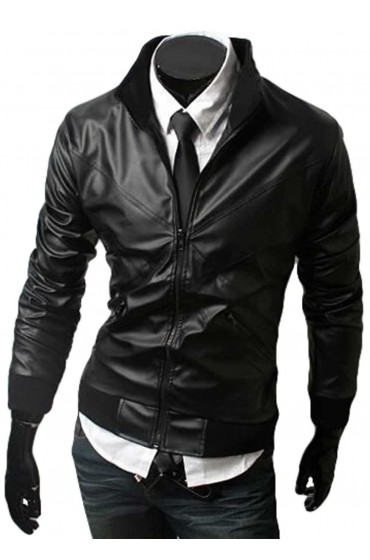 Cross Front Black Motorbike Leather Jacket