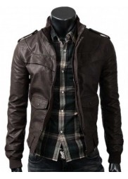 Dark Brown Slim Fitted Leather Jacket