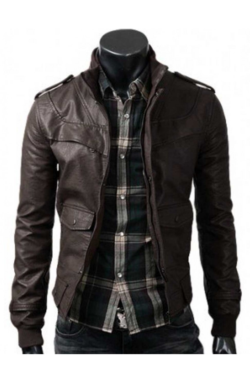 Mens Dark Brown Jacket | Slim Fitted Leather Jacket