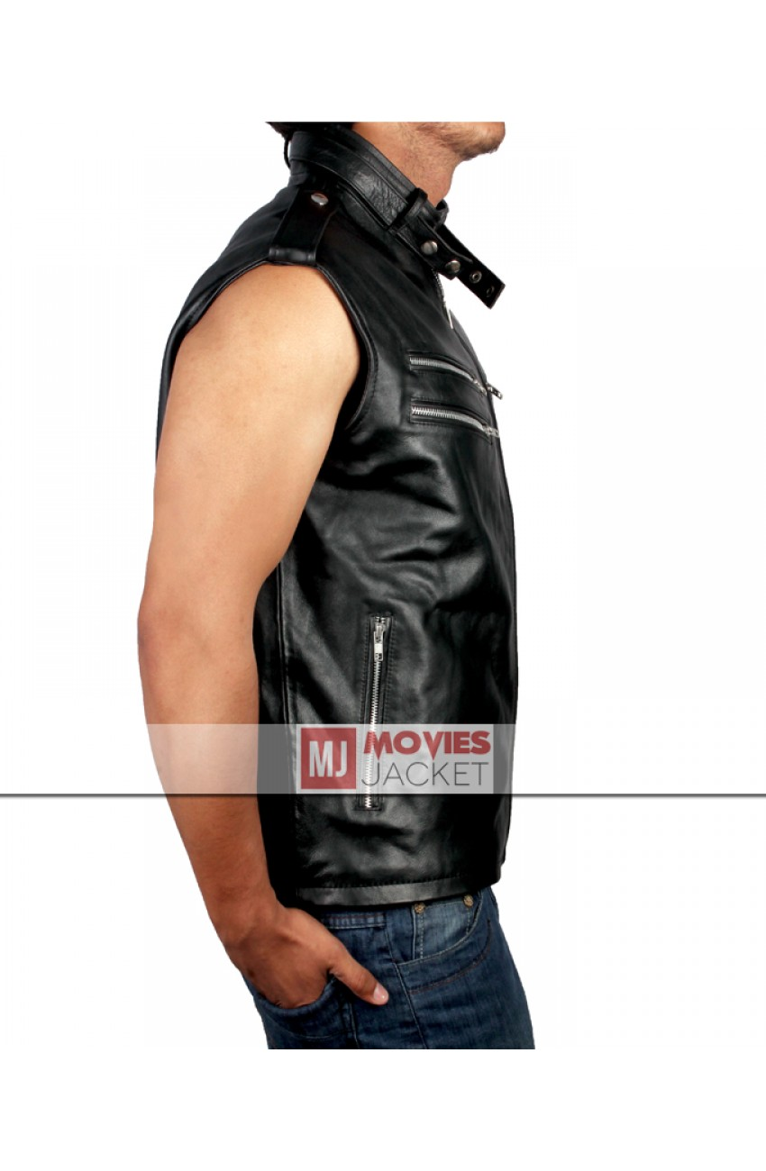 Preferred Dave Batista WWE Wrestler Black Leather Vest for Mens ZJ16