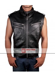Dave Batista WWE Wrestler Black Leather Vest for Mens