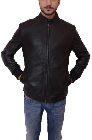 David Beckham Black Leather Zipper Jacket