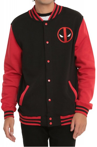 Black Deadpool Varsity Jacket with Red Sleeves