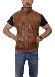 Defiance Grant Bowler Distressed Leather Vest