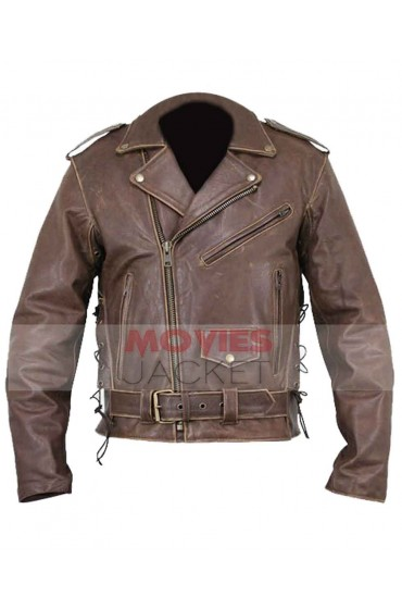 Distressed Brown Motorcycle Brando Leather Jacket