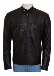 Distressed Mark Wahlberg Contraband Leather Jacket