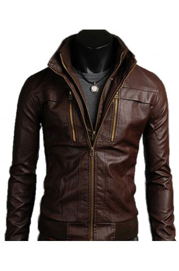 Men's Slim Fit Brown Faux Leather Double Front Jacket