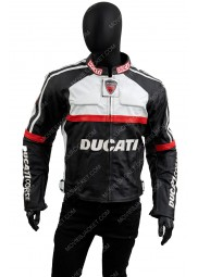 Ducati Corse Black and White Leather Motorcycle Jacket