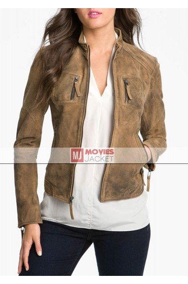 The Vampire Diaries Elena Gilbert Brown Suede Leather Jacket