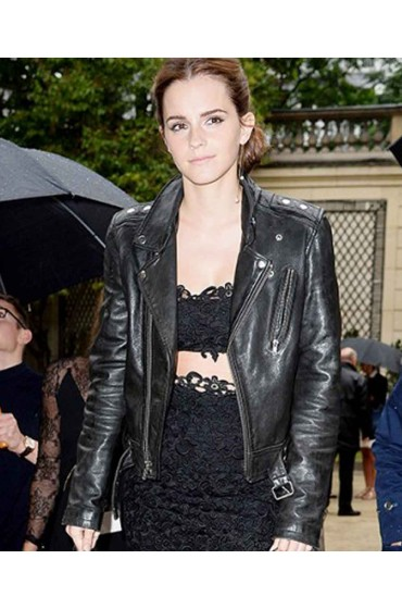 Emma Watson in Black Leather Jacket for Womens