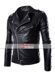 Slim Fit Asymmetrical Zipper Black Faux Leather Moto Jacket