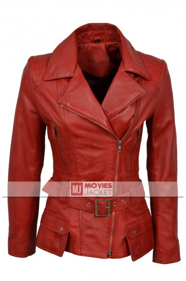 Women's Feminine Red Leather Jacket