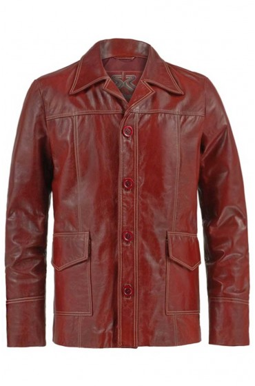 Fight Club Tyler Durden Red Leather Jacket