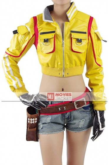 Final Fantasy 15 Hammer Head Cindy Yellow Leather Jacket