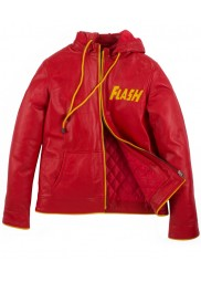 Flash Red Leather Hoodie