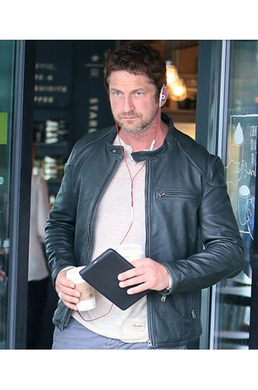 Gerard Butler Motorcycle Rider Black Leather Jacket