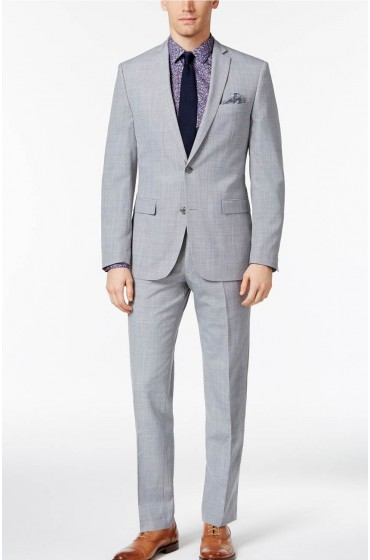 Gray Slim Fit Suit Mens