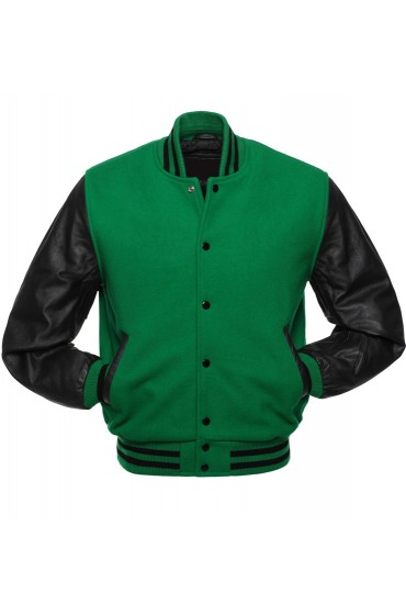 Men's Casual Wear Green and Black Varsity Jacket