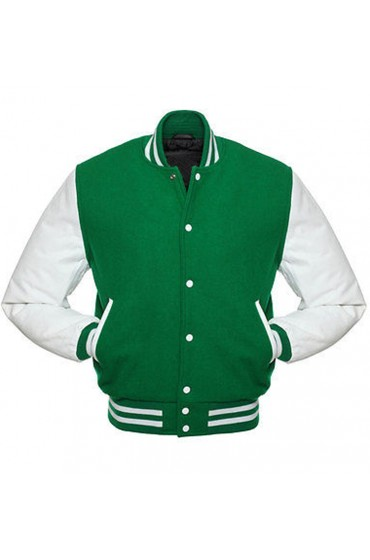 Men's Casual Wear Green and White Letterman Jacket