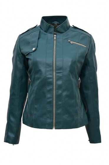 Womens Green Faux Leather Motorcycle Jacket