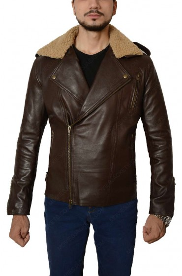 Harry Styles Leather Jacket with Fur Collar