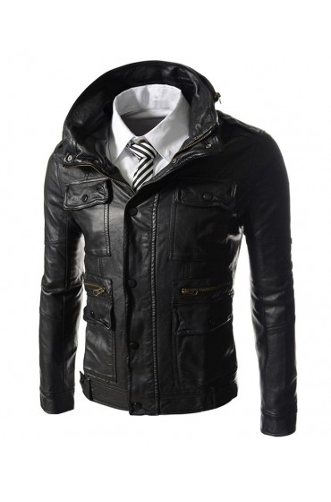 High Neck Wire Men's Slim Fit Black Leather Biker Jacket