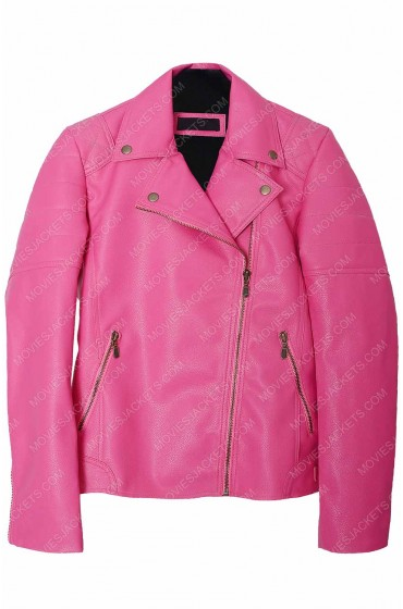 Women's Asymmetrical Zipper Hot Pink Leather Jacket