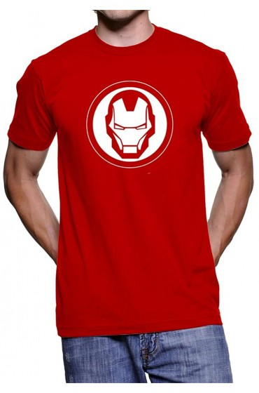White Logo Iron Man Red T-Shirt